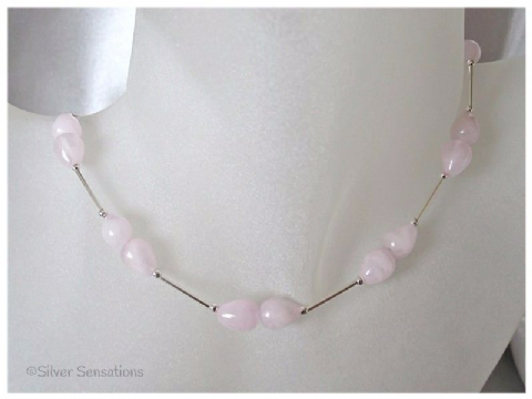 Baby Pink Rose Quartz Pear Drops & Sterling Silver Designer Necklace